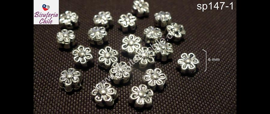 Separado en forma de flor, 6 mm de diámetro, agujero de 1 mm, set de 15 unidades