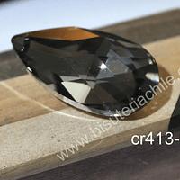 Colgante cristal en forma de gota  gris, 50 mm de largo x 30 mm de ancho, por unidad