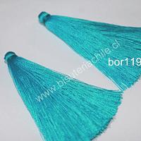Borla gruesa 1era calidad, de hilo de seda color celeste, 7 cm de largo, set de 2 unidades