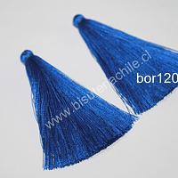 Borla gruesa 1era calidad, de hilo de seda color azul, 7 cm de largo, set de 2 unidades