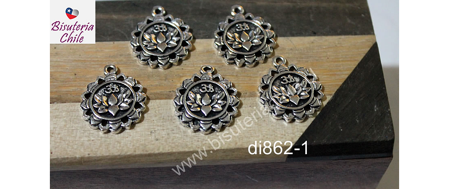 Dije plateado con flor de loto y om, 17 mm de diámetro, set de 5 unidades