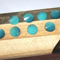 Cristal tipo Rivoli, color celeste con tonalidades oscuras, 10 mm de diámetro, set de 10 unidades