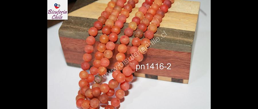 Agata frosting 6 mm, colores color naranjo, tira de 62 piedras aprox.
