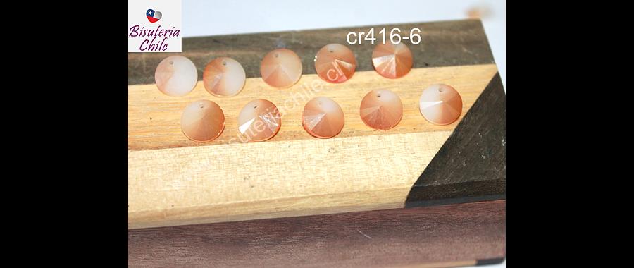 Cristal tipo Rivoli, color naranjo con tonalidades oscuras, 10 mm de diámetro, set de 10 unidades