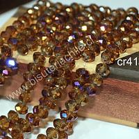 Cristal facetado de 8 mm, en tono amarillo ocre con tonalidades lilas, tira de 70 cristales aprox