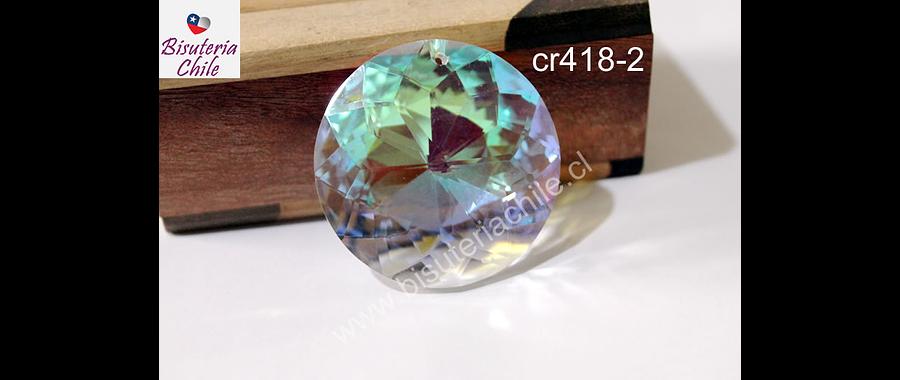Cristal para colgante, transparente tornasol, 45 mm de diámetro, 12 mm de ancho, por unidad