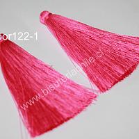 Borla gruesa 1era calidad, de hilo de seda color rosado, 7 cm de largo, set de 2 unidades