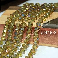 Cristal facetado de 8 mm, en tono amarillo verdoso con tonalidades azulinas, tira de 70 cristales aprox