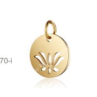 Dije Flor de la VIda, acero dorado, 12 mm de diámetro, por unidad