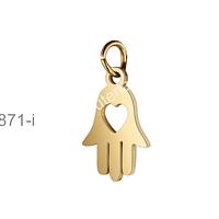 Dije mano de hamsa, acero dorado, 10 mm de ancho x 19 mm de largo, por unidad
