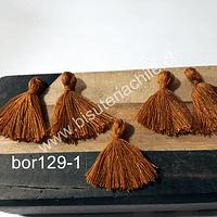 Mini borla color café, 25 mm de largo, set de 5 unidades