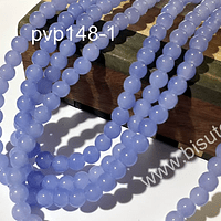 Perla de vidrio 6 mm en color celeste, tira de 140 perlas