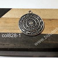 Colgante plateado, diseño signos zodiacales, 30 mm de diámetro, por unidad
