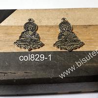 Colgante dorado  Buda, 25 mm de largo x 21 mm de ancho, set de 2 unidades