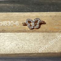 Dije en forma de mariposa dorado, doble conexión con strass, 28 mm de largo x 8 mm de ancho, por unidad