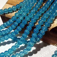 Perla de vidrio 6 mm en color celeste transparente, tira de 140 perlas