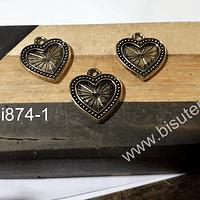 Dije dorado Corazón con diseño, 20 x 20 mm, set de 3 unidades