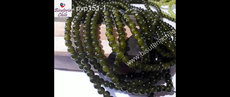 Perla de vidrio 6 mm en color verde uva, tira de 140 perlas