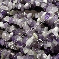 Piedra amatista chip, piedra chica, tira de 80 cm aprox