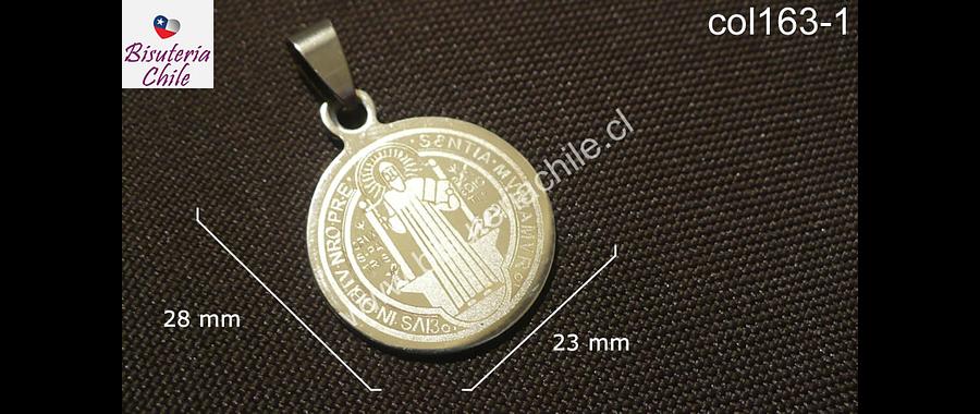 Colgante de acero quirúrgico, San Benito, 25 mm diámetro, por unidad