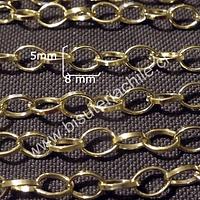 Cadena dorada,  eslabón de 8 mm por 5 mm, por metro