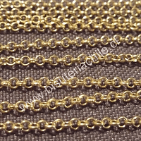 Cadena dorada, eslabon de 3 por 3 mm, por metro
