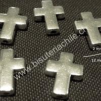 Separador plateado en forma de cruz, 16 mm de alto , 12 mm de ancho, agujero de 2 mm, set de 5 unidades