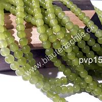 Perla de vidrio 6 mm verde limón, tira de 140 piedras aprox