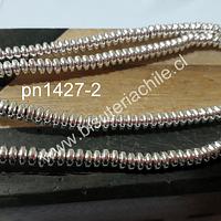Hematite Rondell plateado claro, de 4 x 2 mm, tira de 190 piedras aprox.