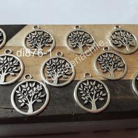 Dije plateado con árbol de la vida, 16 mm de diámetro, set de 10 unidades