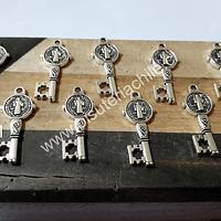 Dijes de llave San Benito, 23 mm de largo x 8 mm de ancho, set de 10 unidades