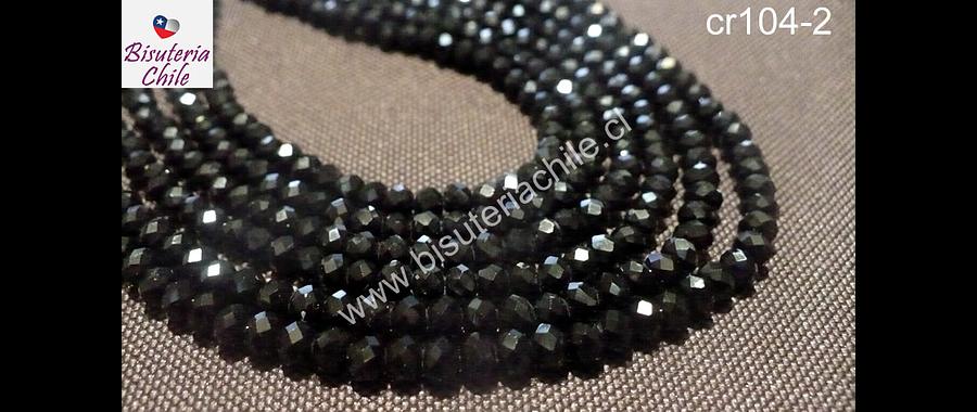 Cristal facetado de 4 mm color negro, tira de 130 unidades aprox