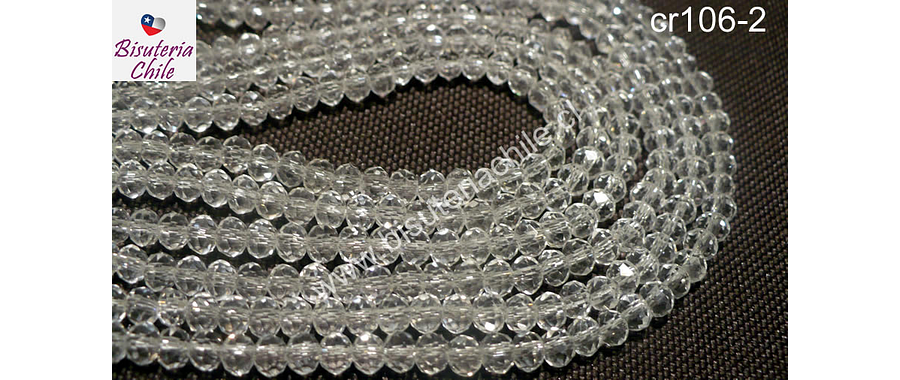 Cristal chino facetado de 4 mm color blanco transparente, tira de 150 unidades aprox