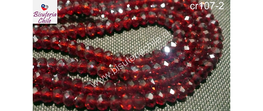 Cristal chino facetado de 4 mm color rojo transparente, tira de 150 unidades