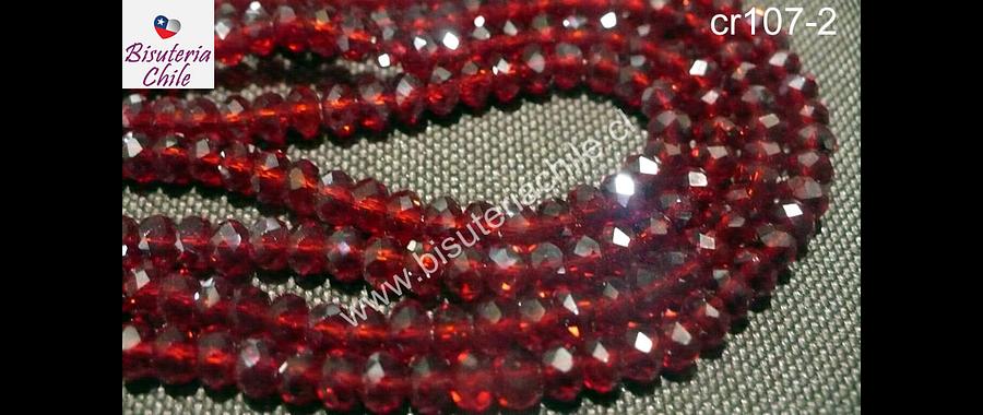 Cristal chino facetado de 4 mm color rojo transparente, tira de 150 unidades