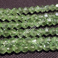 Cristal chino facetado de 4 mm color verde claro  transparente, tira de 140 unidades