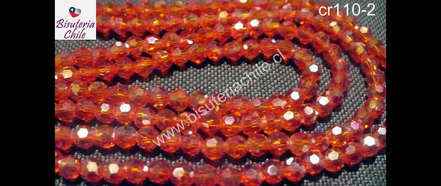 Cristal chino facetado de 4 mm color naranjo transparente, tira de 140 unidades aprox