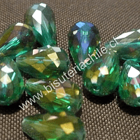 Cristal en forma de gota, color verde esmeralda, 15mm por 12 mm, set de 12 unidades