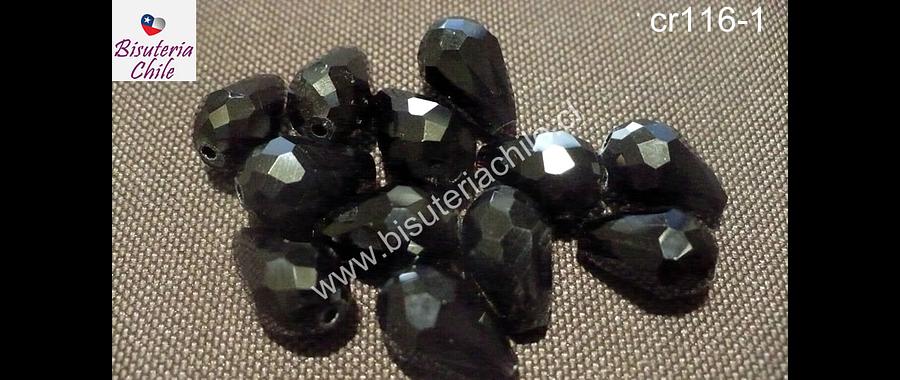 Cristal en forma de gota, color negro, 15 mm por 12 mm, 10 cristales