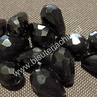 Cristal en forma de gota, color negro, 15mm por 12 mm, 10 cristales