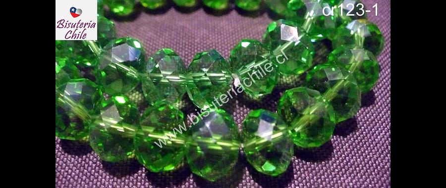 Cristal color verde, de 12 mm por 10 mm, tira de 20 piedras