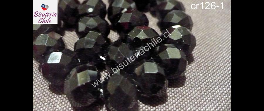 Cristal color negro, de 12 mm por 10 mm, tira de 20 piedras