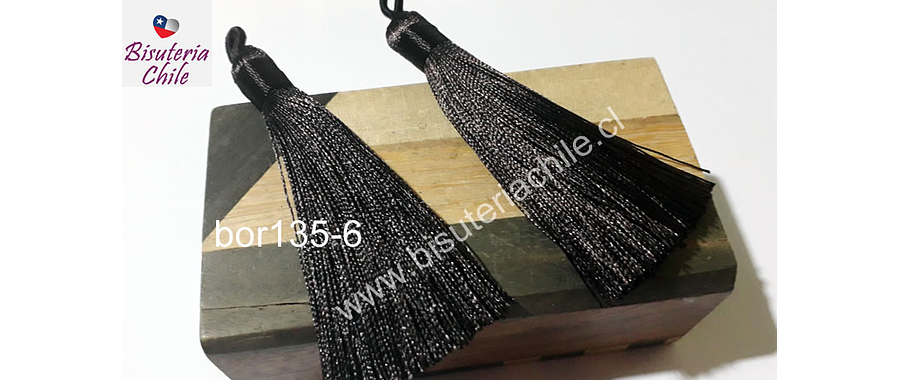 Borla gruesa 1era calidad, de hilo de seda color café oscuro, 7,5 cm de largo, set de 2 unidades