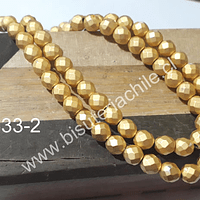 Hematite frosting dorada facetada de 6 mm, tira de 65 piedras aprox.