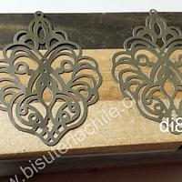 Bases de aro, o colgantes de acero, 50 mm de largo x 39 mm de ancho, por par