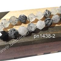 Cuarzo turmalinado facetado corte hexagonal, 10 mm, tira de 17 piedras.