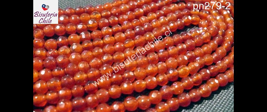 Agata facetada de 4 mm color naranjo oscuro, tira de 90 piedras arox.
