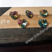 Cristal en forma de corazón, 10 x 10 mm, set de 5 unidades. San Valentin