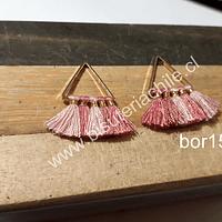 Borla base dorada en tonos rosado 23 mm de lago x 15 mm de ancho, por par