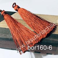 Borla gruesa 1 era calidad, de hilo de seda color terracota, 7 cm de largo, set de 2 unidades